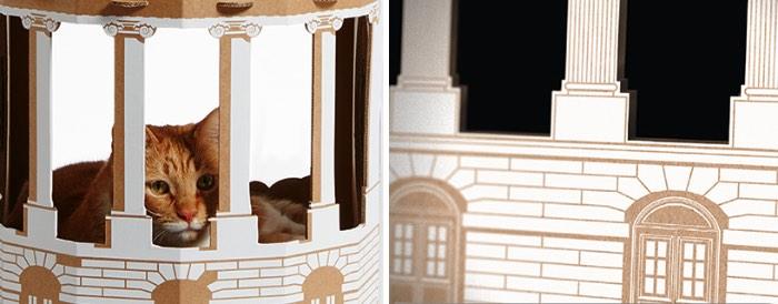 Caixas de Papelão para Gatos Cheios de Estilo - Nunca irei entender por que que gatos gostam tanto de caixas de papelão. Mas gatos amam essas caixas e, se você tem um gato em casa, tenho certeza de que você tem ou já teve uma caixa no meio da sala de casa. Sou daqueles que odeia essas coisas bagunçando minha casa e por isso mesmo adorei a proposta do pessoal do estúdio Poppy Cats de Amsterdam.