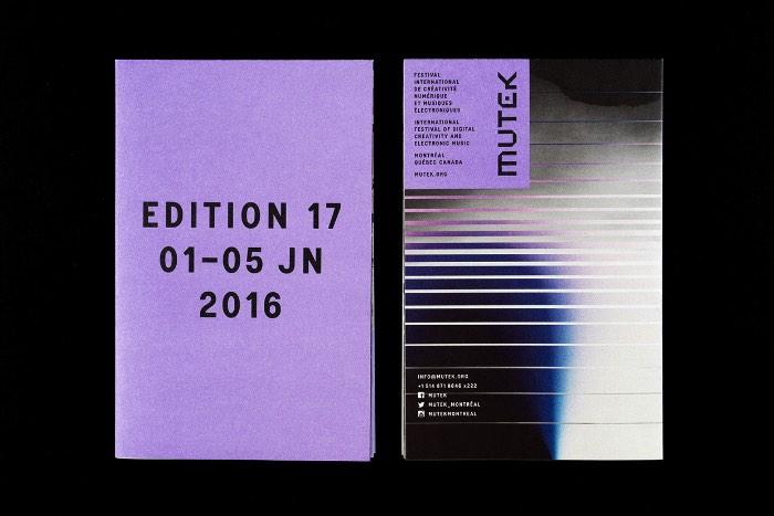 Mutek é um festival internacional de música eletrônica e arte digital que acontece anualmente em Montreal entre o final de Maio e o início de Junho. Para a sua 17º edição, o pessoal da Nouvelle Administration foi responsável por criar uma nova identidade visual que pudesse ser representada em todos materiais criados para a divulgação do evento.