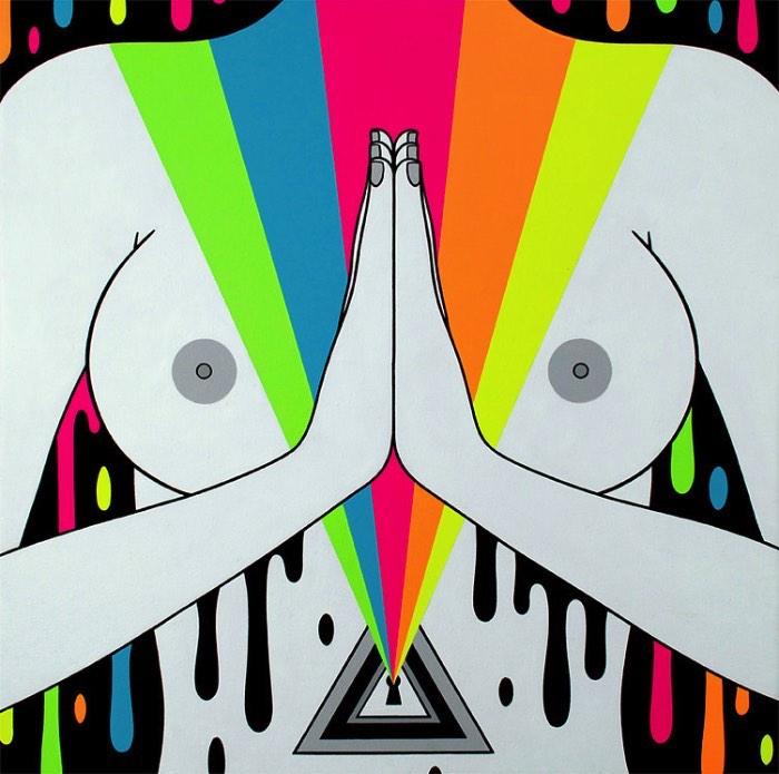 É fácil descrever as pinturas de Oliver Hibert as chamando de coloridas, fantásticas e psicodélicas. Nascido em Seattle em 1983, o artista cresceu cercado por uma família de artistas e, talvez, por isso mesmo, ele passou a criar sua arte e seus desenhos tão cedo. De forma auto didata e com muita determinação, ele acabou estreando no mundo das galerias de arte com 16 anos e não parou mais.