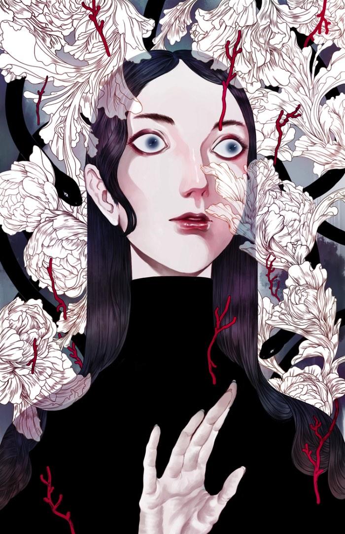 Ha Gyung-Lee cria ilustrações que seguem uma estética inspirada pela arte japonesa, seus mangas e seu folclore com um visual que parece ter pitadas das referências da Art Deco.