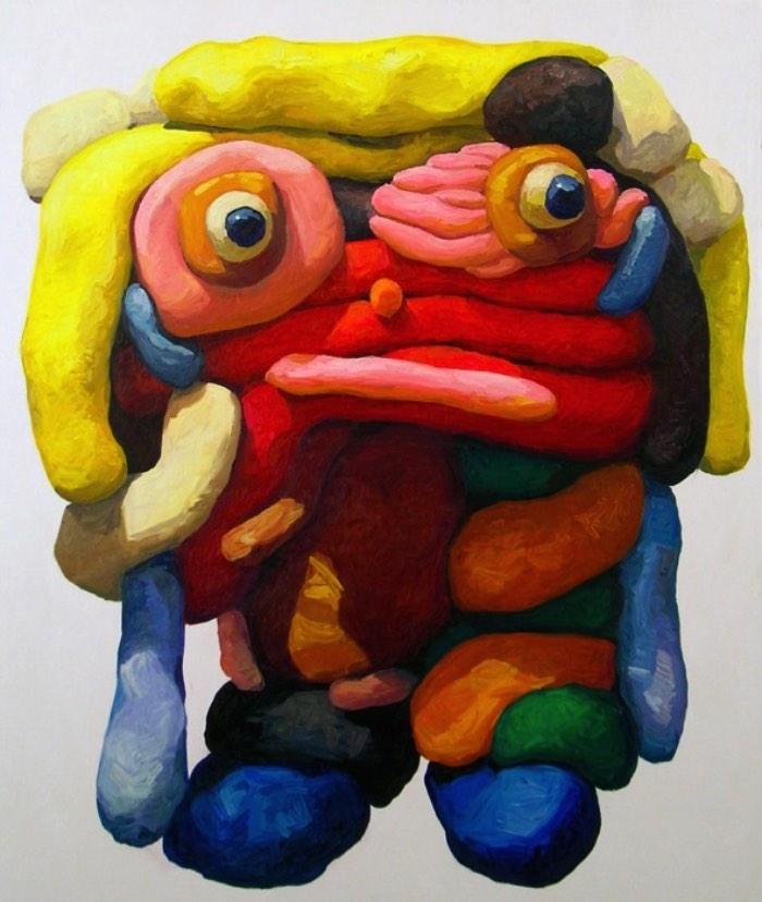 Peter Opheim é um artista cujo foco de suas pinturas é composto de bonecos de massinha. Bonecos de massinha de um jeito bem infantil e com todos os detalhes errados que uma criança faria enquanto experimenta com arte. Suas pinturas acabam se tornando janelas para um mundo que é habitado por figuras e personagens nada convencionais que vivem entre a imaginação das crianças e as emoções dos adultos.