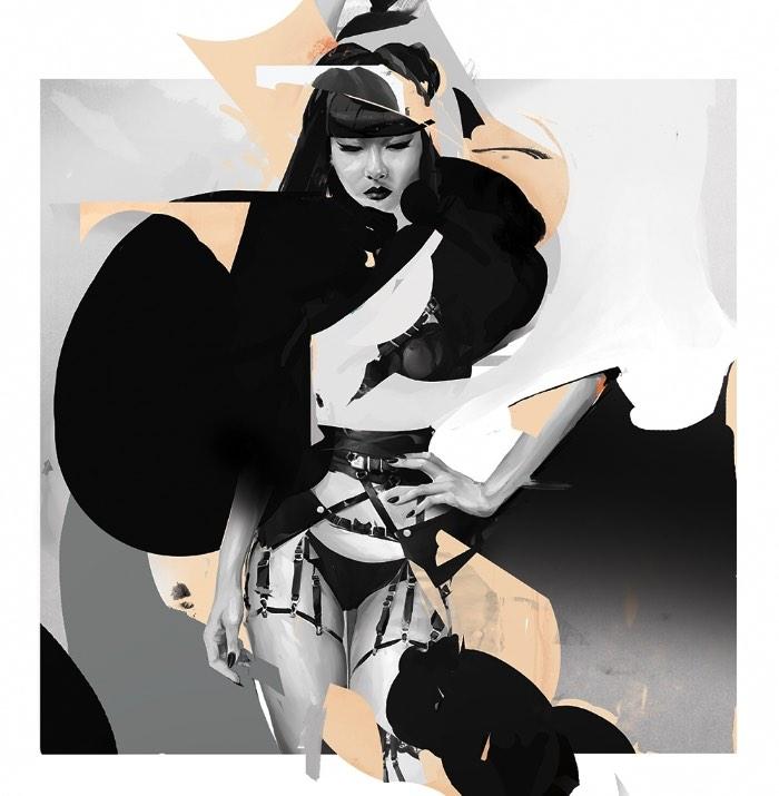 O trabalho de ilustração de Tyson McAdoo é focado quase que totalmente em retratos femininos figurativos. Todos eles feitos de forma digital e que brincam um pouco com uma estética incompleta e fraturada que acho bem interessante. Além do tema meio fetishista que combina bastante com todo o visual desenvolvido pelo ilustrador. A estética de Tyson McAdoo equilibra uma abstração com realismo que cria uma energia de poder feminino. Uma energia que eleva as mulheres fraturadas de suas ilustrações a uma dominação que combina bastante com a temática fetish de muitos dos seus trabalhos.