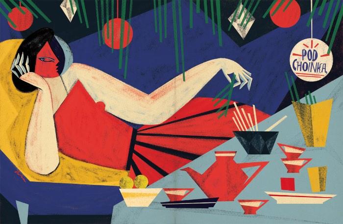 O trabalho ilustrado de Gosia Herba é repleto de temas que remetem a mitologia e a contos de fadas. E isso ocorre por que ela é uma ávida leitora de livros que falam sobre antropologia e a história da cultura. Seus trabalhos são feitos, normalmente, para clientes editoriais ao redor do mundo. De 2008 para hoje, ela já colecionou clientes como The Washington Post, Strapazin, The Oprah Magazine, La Nation, Penguin Random House. Além disso tudo, ela ainda pinta e escreve livros para crianças e quadrinhos.