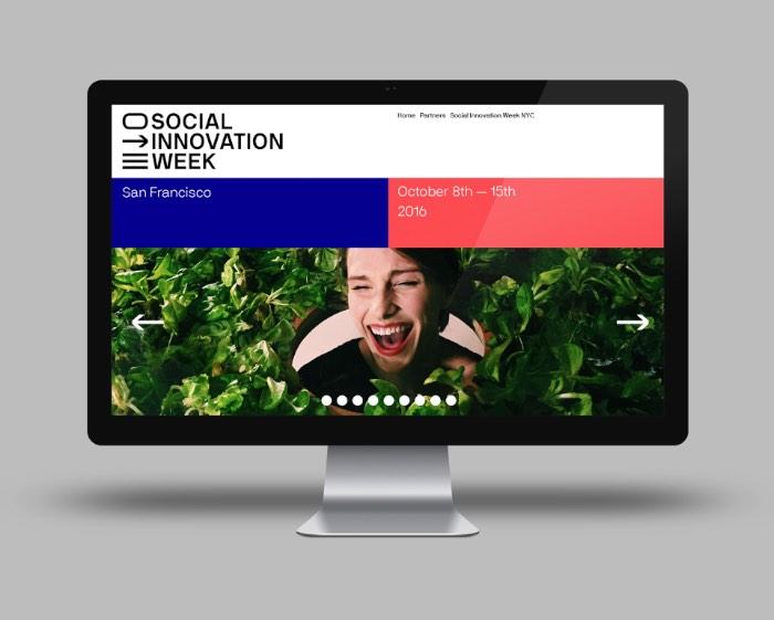 Social Innovation Week é um evento que acontece em São Francisco, na costa oeste dos Estados Unidos. Durante a semana em que o evento acontece, são apresentados novos métodos e conceitos em cinco setores diferentes: energia, comida, cultura, design e meio ambiente. Essa foi a inspiração para a criação da identidade visual do evento, trabalho do designer Aurelio Sánchez Escudero.