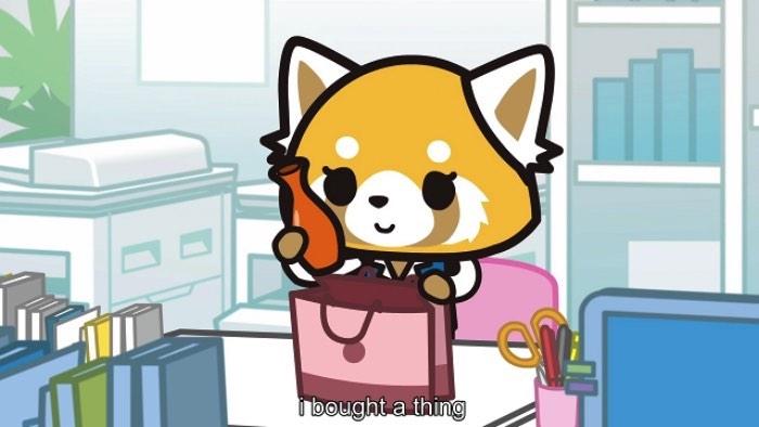 Aggretsuko é de escorpião e trabalha em um escritório em Tóquio. Todas as manhãs, ela vai para o trabalho dentro de um trem apertado. Sempre que ela acredita que está indo para casa, depois de terminar seu trabalho, seu chefe lhe entrega ainda mais tarefas. É ai que Aggretsuko fica louca de raiva. Seus olhos começam a sangrar e ela volta sua atenção para cerveja e o karaoke de heavy metal. Algo mais para um deathcore, para entendidos.