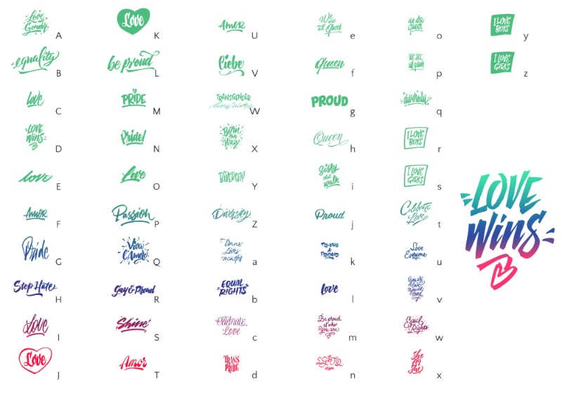 Como amante das letras, Giuseppe Salerno adora observar as placas e as mensagens que aparecem nas marchas de Orgulho Gay pelo mundo. Foi pensando nisso que Love Wins acabou sendo criada. Uma grande coleção de letterings feitos a mão para ajudar o mundo a espalhar o amor e adicionar um pouco de tipografia para essa festa. Love Wins foi feita como uma série de 60 frases escritas a mão e feitas com todo amor para celebrar a diversidade. Essas sessenta frases foram feitas com diferentes estilos, usando diferentes ferramentas e com uma estética bem variada. Você pode usá-las para criar suas mensagens, camisetas, posters, adesivos e tudo mais que você pensar. Tudo que você precisa fazer é espalhar o amor no seu dia a dia e pronto.