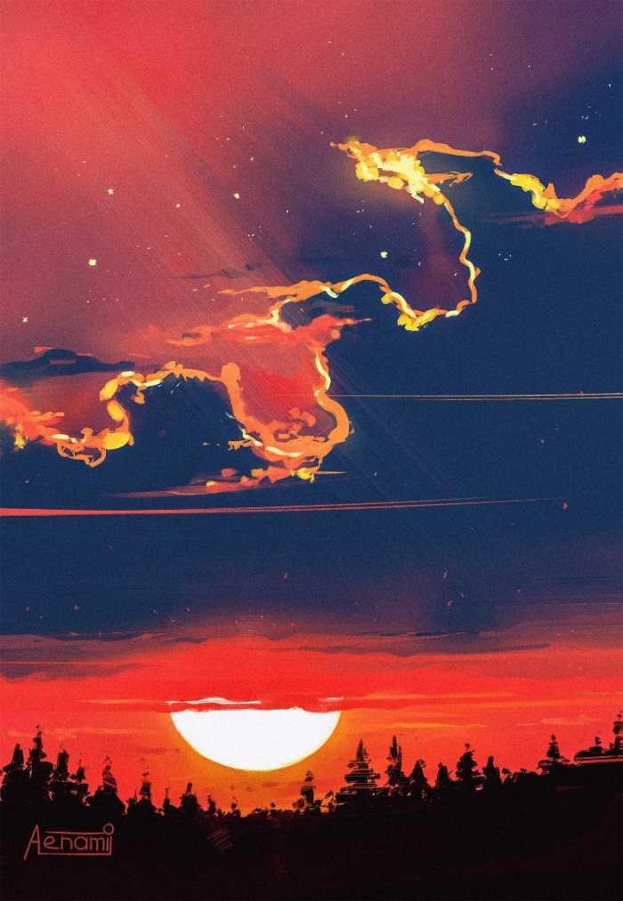 Alena Velichko é mais conhecida no mundo online como Alena Aenami e por suas ilustrações de paisagens que usam de muitas cores e brilhos. Foi isso que me chamou a atenção no portfólio dessa ilustradora digital de Zaporizhia, na Ucrânia. A forma quase expressionista que ela usa em suas ilustrações é o que eu mais gostei aqui. A forma com a qual ela usa de traços e pinceladas fortes e bem definidas para mostrar variações de luzes é algo que eu gostaria muito de saber fazer.
