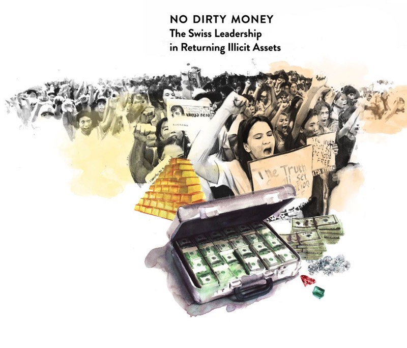 No Dirty Money é um projeto de ilustração editorial criado pelo artista Berto Martinez para um artigo sobre o esforço da Suíça para devolver dinheiro de corrupção que chegou as contas de banco do país. O trabalho de ilustração aqui é composto de retratos feitos através de aquarela. Onde indivíduos como o General Sani Abacha, da Nigéria, aparece junto de malas de dinheiro e bombas de petróleo.