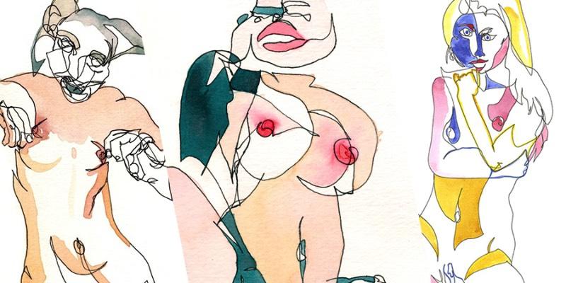 Girls é uma série de ilustrações feitas de contornos femininos onde Katie Dunkle explora a sensualidade do corpo da mulher. Para criar esses desenhos, a artista analisa e examina a fotografia pornográfica amadora e, sem olhar, ela reproduz aquilo que ela viu de uma forma abstrata. Tudo isso é feito em uma linha contínua, criada usando tinta, grafite e aquarelas.
