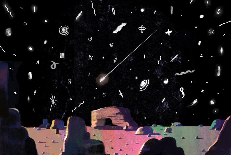 As ilustrações de Jun Cen tem um visual minimalista, como se ele não quisesse complicar demais a estética de seu trabalho. Acredito que ele possa estar criando uma forma de se expressar com alguns limites, como se a arte que ele criasse seguisse as mesmas regras do design. E o ilustrador faz isso utilizando de uma paleta de cores reduzida e de perspectivas peculiares. Algumas vezes ele também inclui alguns espaços muito bem arquitetados e uma série de pessoas com fantasias, como se esses elementos fossem cooperar na construção das histórias que suas imagens contam.
