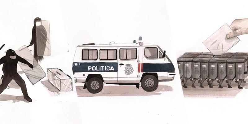 Os recentes atos políticos na Espanha e na Catalunha não poderiam ser ignorados por um dos mais prolíficos artistas de rua da atualidade: o sempre fenomenal Escif. Como esperado, esse artista que sempre fala sobre injustiça social e seus efeitos nas pessoas, resolveu criar uma série de aquarelas comentando sobre os estranhos eventos que aconteceram no país nos últimos meses.