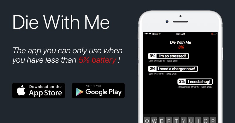 Então, Die With Me é um aplicativo que só funciona quando você tem menos de 5% de bateria no seu celular. Quando isso acontece, você pode abrir esse app, no seu Android ou iPhone, e entrar em uma espécie de chatroom onde você pode dar adeus para outras pessoas que também estão com menos de 5% de bateria no seu celular. Dessa forma, você pode se despedir de alguém e ficar offline em paz. Esse é o conceito do Die With Me e eu não sei direito porque que gostei tanto disso.