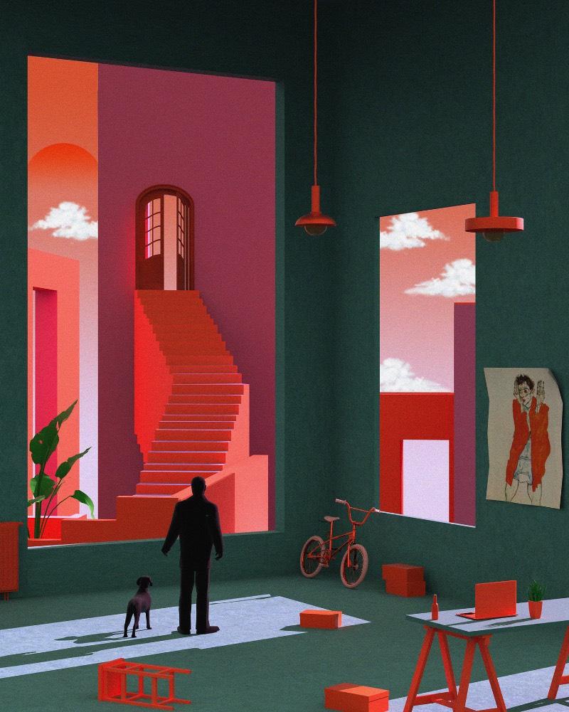 Quando me deparei com o trabalho de ilustração de Tishk Barzanji, me imaginei andando pelas paisagens e cenários que encontrei em seu portfólio. O mundo ilustrado que ele criou é visualmente complexo e repleto de personagens que andam por corredores longos e escadarias que parecem não ter fim.