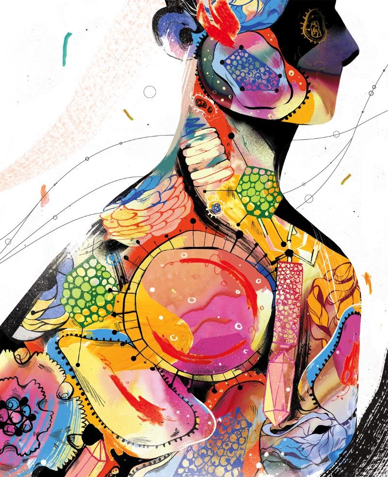 Quando me deparei com o portfólio de ilustrações de Lynn Scurfield, eu sabia que ia publicar alguma coisa dela por aqui. Tudo isso porque eu adorei como que ela usa de cores e mais cores para criar texturas diferentes em seus desenhos.