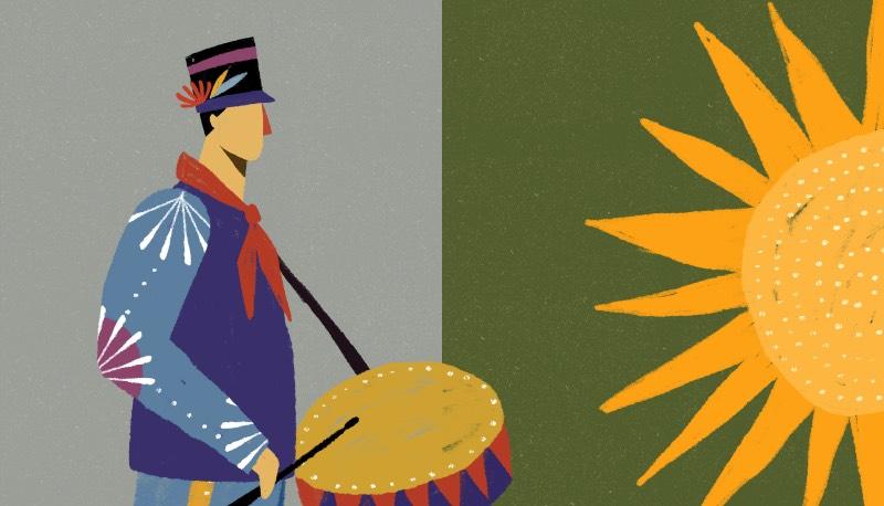 Existe um local conhecido como Fazendo Limeira que é onde café Seis de Janeiro é produzido. Lá, a Folia de Reis de Altinópolis é recebida com orgulho e muita honra e foi essa estética que Willian Santiago resolveu explorar nas suas ilustrações.