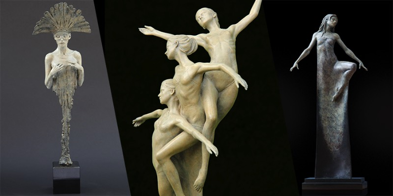 As esculturas criadas por Michael James Talbot sempre começam em argila que viram os moldes para onde ele vai usar do bronze para criar as peças que você pode ver logo abaixo. Ele tem total controle desse processo, o que permite com que ele desenvolva cada detalhe que ele acredita ser necessário até chegar no refino do trabalho final.