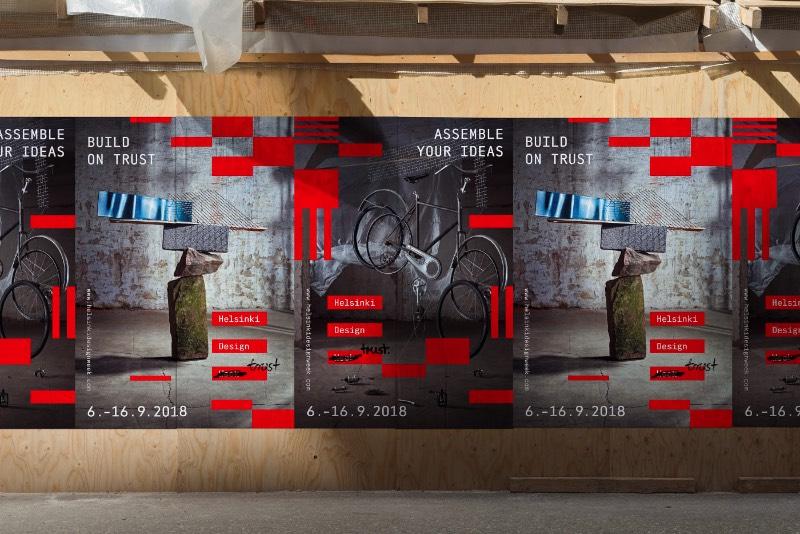 O Helsinki Design Week foi fundado em 2005 e é o maior festival de design dos países do norte da Europa. Ele acontece todos os anos em setembro e apresenta uma série de ideias nos campos de moda, arquitetura e cultura urbana. Em 2018, o pessoal da Kuudes foi convidado para criar a identidade visual do evento, baseado no conceito de confiança.
