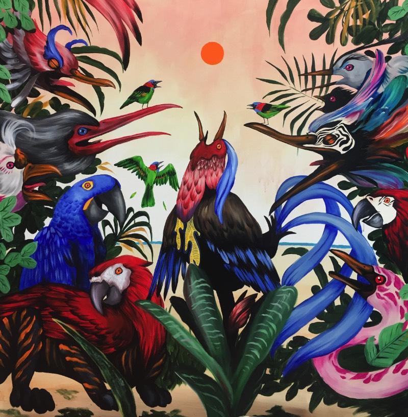 Mateus Bailon é um artista brasileiro de Santa Catarina. Seu trabalho artístico tenta explorar narrativas que buscam uma maior conexão entre o ser humano e a natureza. E o que mais me chamou a atenção no seu trabalho é como suas obras são repletas de criaturas fantástica, principalmente aves.