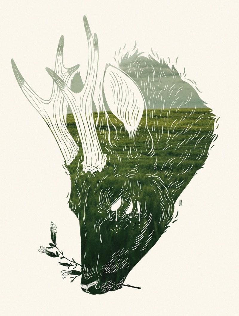 Jenna Barton é uma designer e ilustradora americana que combina um processo digital com aquarelas para criar cenários antropomórficos de cachorros, gatos, raposas e veados. Essas ilustrações vem quase sempre com olhares em branco, como se o animal estivesse possuído, ou algo ainda mais interessante.