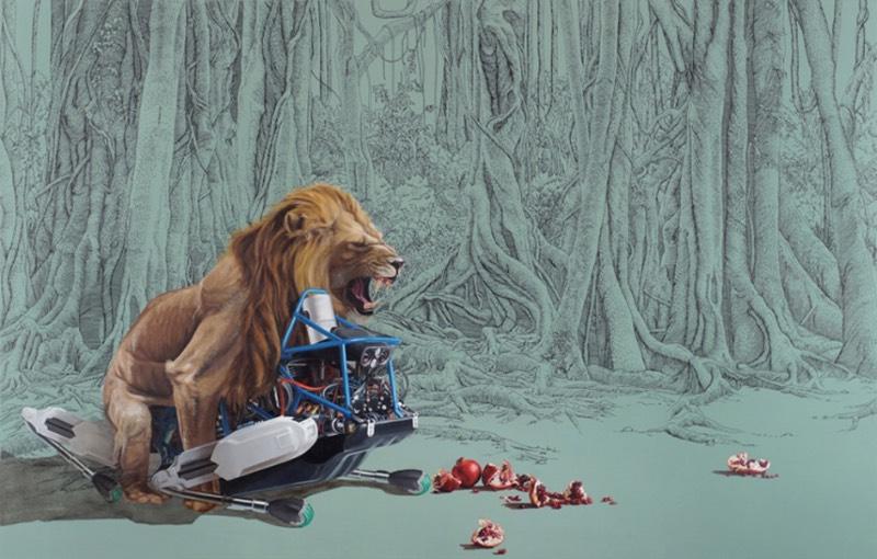 As pinturas de Julia Faber parecem mostrar uma fascinação por robôs. Mas não aqueles robôs de ficção científica que existem no cinema. Os robôs que aparecem aqui são mais próximos daqueles da Boston Dynamics, o que acaba deixando as imagens aqui um pouco mais próximas da realidade.