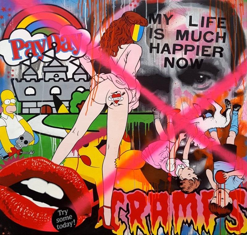 Ben Frost é um artista australiano que é reconhecido internacionalmente pelo sua arte quase caleidoscópica. Seu portfólio é repleto de pinturas que parecem capturar referências de áreas diversas como sign-writing, foto realismo, graffiti e colagens.