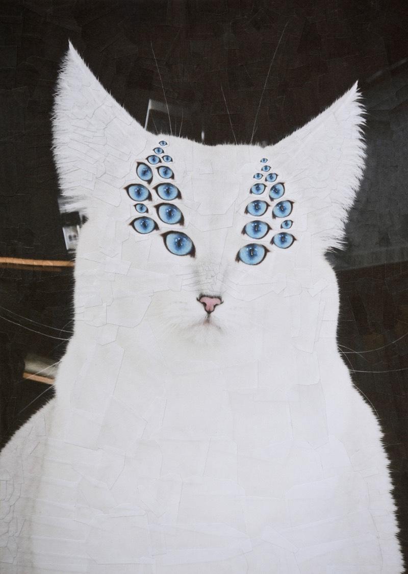 Depois de trabalhar com alguns retratos de Charlie, o gato que mora no estúdio onde Lola Dupre trabalha, a artista resolveu criar uma série de colagens que explorasse o visual e a estética de alguns animais domésticos. Foi assim que começou esse projeto repleto de imagens de gatos e cachorros lisérgicos feitos através de complexas colagens.