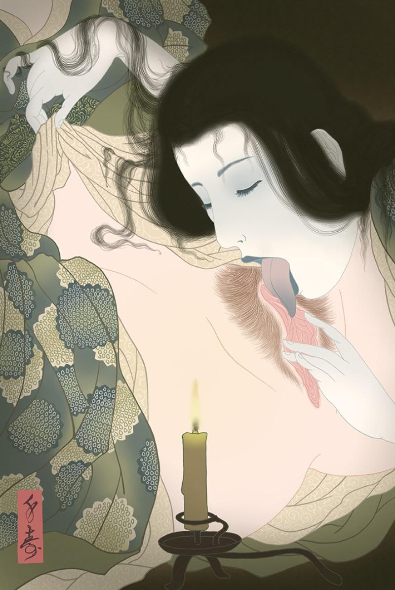 Senju Horimatsu continua com a tradição conhecida como Shunga, a arte erótica japonesa. E seus desenhos transformam essa tradição em algo atualizado, algo que transforma um gênero antigo em uma sensibilidade contemporânea.