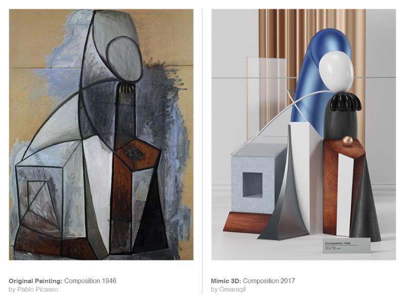 Mimic é uma série de imagens criada pelo designer Omar Aqil onde algumas pinturas de Pablo Picasso são recriadas utilizando de técnicas de 3D modernas. Dessa forma, ele simula o pensamento e a estética de um dos maiores artistas do século vinte de uma forma bem interessante.