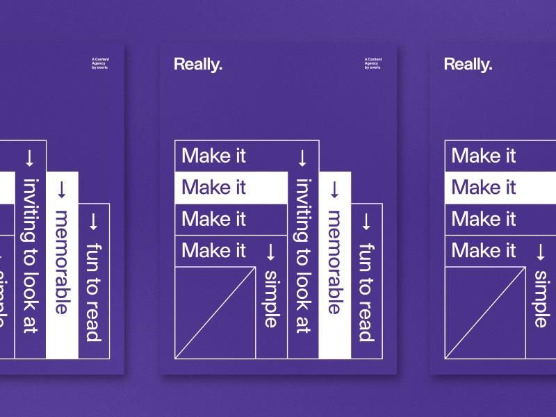Really é o nome da agência de conteúdo do grupo everis. Como criadores de conteúdo, o trabalho deles é bem variado e vai de infográficos e ilustrações até a produção de vídeos e outros projetos criativos.