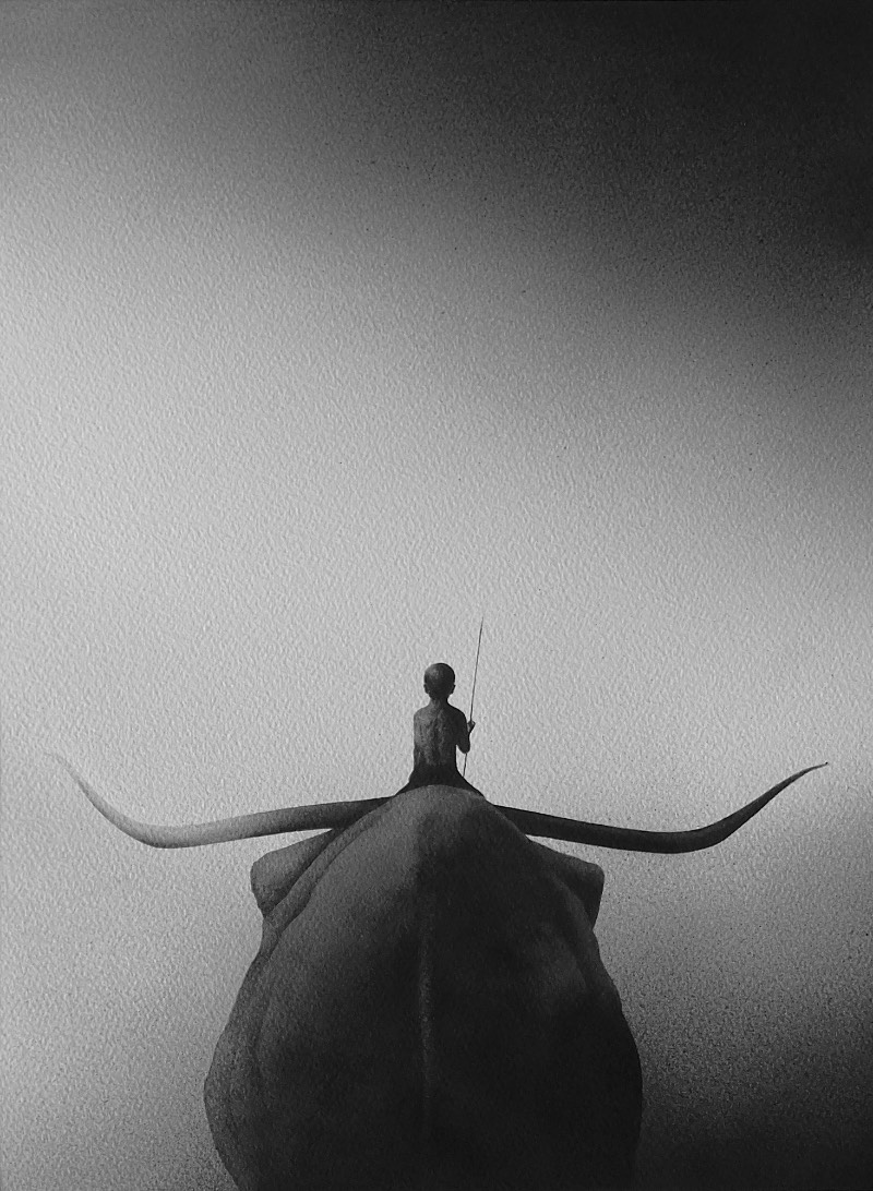 Elicia Edijanto faz aquarelas em preto e branco onde crianças vulneráveis aparecem ao lado de poderosos animais como ursos, elefantes e lobos. Tudo isso é feito usando apenas aquarelas que acabam criando um visual quase onírico que é contemplativo e tranquilo.