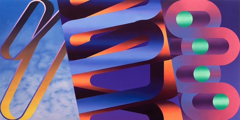 Dan Perkins é um artista norte-americano baseado no Brooklyn que cria trabalhos geométricos abstratos que incorporam elementos de pintura minimalista com gradientes coloridos. Visualmente falando, suas pinturas tem pitadas de algo lúdico e foi isso que capturou minha atenção quando deparei com seu portfólio pela primeira vez.