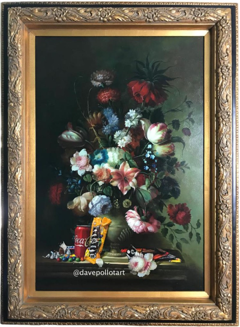 A arte e as pinturas de Dave Pollot são um pouco peculiares já que envolvem alterações em outras pinturas. É isso mesmo que você leu. O artista visita lojas de objetos usados na procura de algo especial que possa receber seu toque e se transformado em algo diferente.