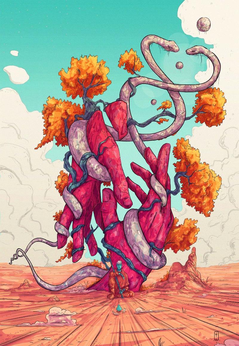 Christian Benavides é um ilustrador freelancer colombiano baseado em Medellin. Ele é conhecido online como Voyager e o nome foi escolhido como uma forma de representar a arte e as ilustrações que ele cria, como se fosse uma jornada direto a alma do artista. Afinal, cada uma de suas ilustrações vem com um conceito maior do que a percepção inicial que temos das peças.
