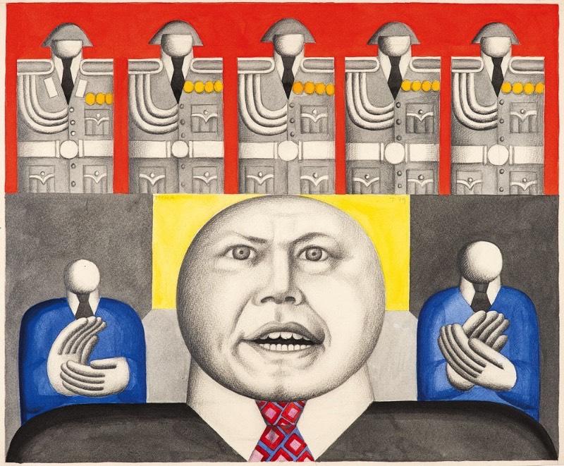 Hans Ticha é um dos mais importantes artistas contemporâneos da Alemanha e ele anda descrevendo o cotidiano e a história do país através do seu trabalho pelos últimos 50 anos. O ser humano é a figura central no trabalho desse artista e quase sempre aparece com suas mãos em um tamanho desproporcional e com pequenas cabeças sem face.
