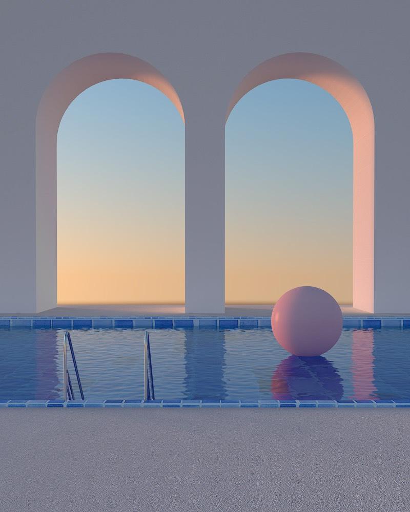 Na série de imagens que recebeu o nome de Somewhere in the World, Minjin Kang e Mijoo Kim estavam interessados em criar um surreal mundo vibrante mas em um estilo minimalista. O objetivo dos artistas do Mue Studios era o de criar espaços oníricos que fossem renderizados como arquitetura, como se fossem ilusões vistas por breves momentos.