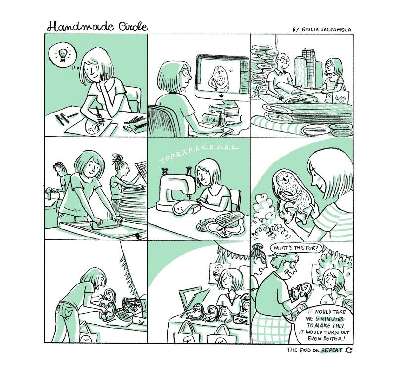 Giulia Sagramola é uma ilustradora, cartunista e designer italiana que diz ser apaixonada com tudo que é relacionado com cachorros, quadrinhos e a cultura pop japonesa. Talvez, por isso mesmo que ela passa grande parte do seu tempo desenhando e criando histórias. Além de, claro, ilustrações para seus clientes.