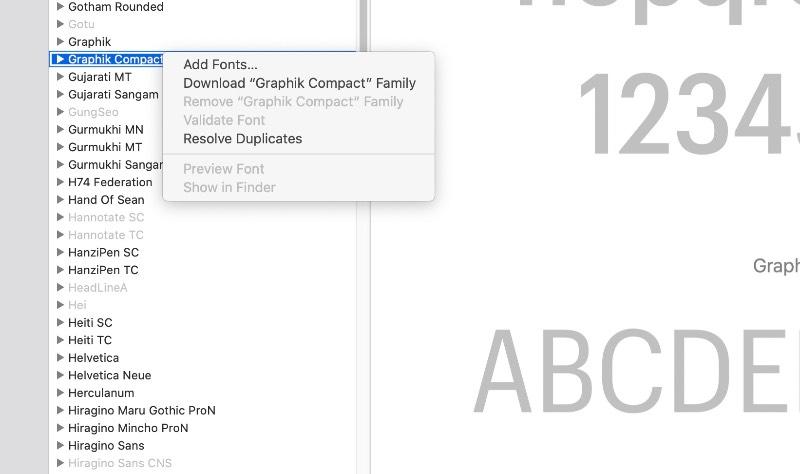 Recentemente, a Apple andou licenciando fontes de type foundries como Mark Simonson Studio, Commercial Type, Klim Type Foundry, e essas fontes gratuitas estão disponíveis como fontes de sistema no Mac OS Catalina. Porém, elas fazem parte de um download opcional e muitos usuários não sabem que tem acesso a isso.