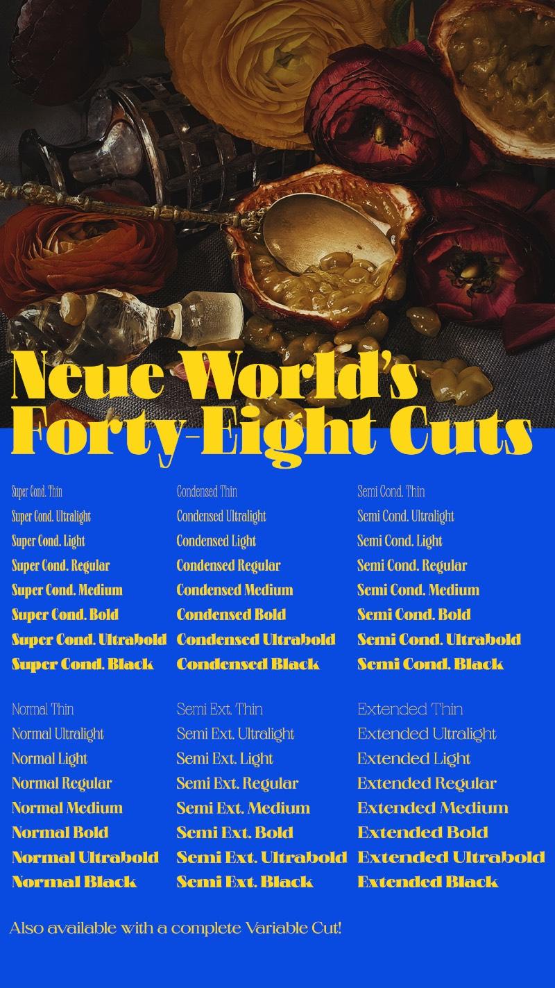 A Neue World é uma fonte quase gratuita já que ela pode ser usada como teste durante um período indeterminado. Seu design é inspirado nas fontes do passado que eram alteradas manualmente para que coubessem no papel.