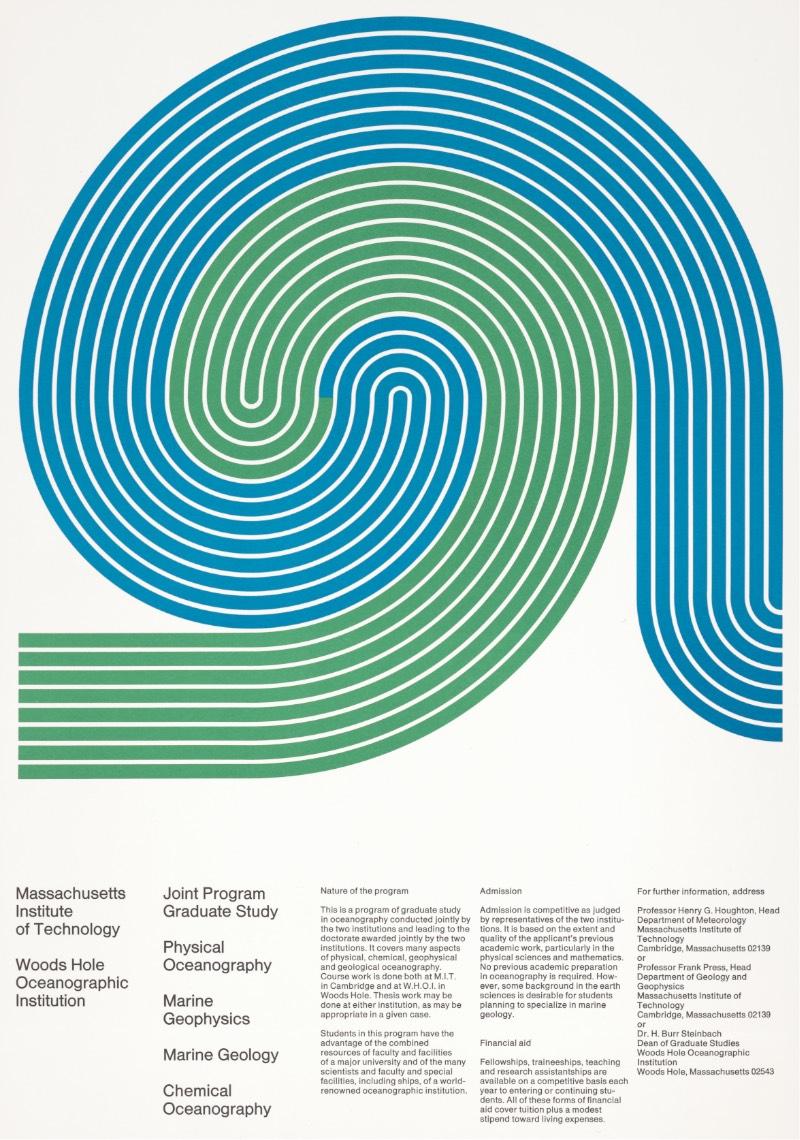 O foco do meu interesse no trabalho de posters de Dietmar Winkler vem de um instante histórico onde ele trabalhou no Escritório de Serviços de Design do MIT. Entre 1968 e 1970, ele ajudou a desenvolver uma linguagem visual diferenciada para o Instituto de Tecnologia de Massachusetts e essa estética se tornou tão reconhecida que redefiniu a recepção do mesmo como instituição educacional.