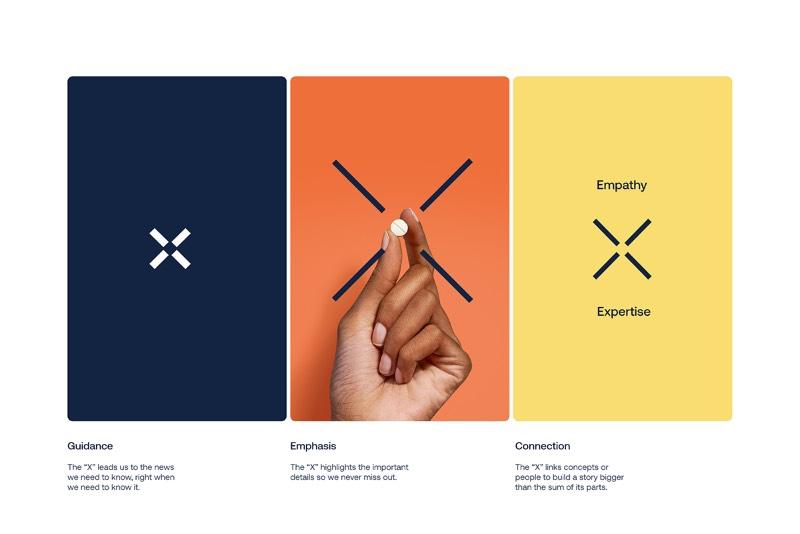 Foi dai que veio o conceito visual desse trabalho de redesign de identidade visual da Express Scripts Pharmacy. A R/GA chamou esse diferencial de disponibilidade de serviço do seu fator X do bem-estar e explorou essa estética através de todos os elementos visuais da marca, incluindo aí até inúmeras animações de suporte para o branding.