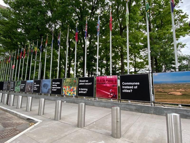Countryside at the United Nations é uma exposição temporária acessível ao público curada pelo pessoal da AMO, o braço de publicação e pesquisa da OMA. Essa exposição consiste em uma série de painéis que apresentam questões e imagens que ilustram algumas das transformações rurais mais importantes da atualidade.