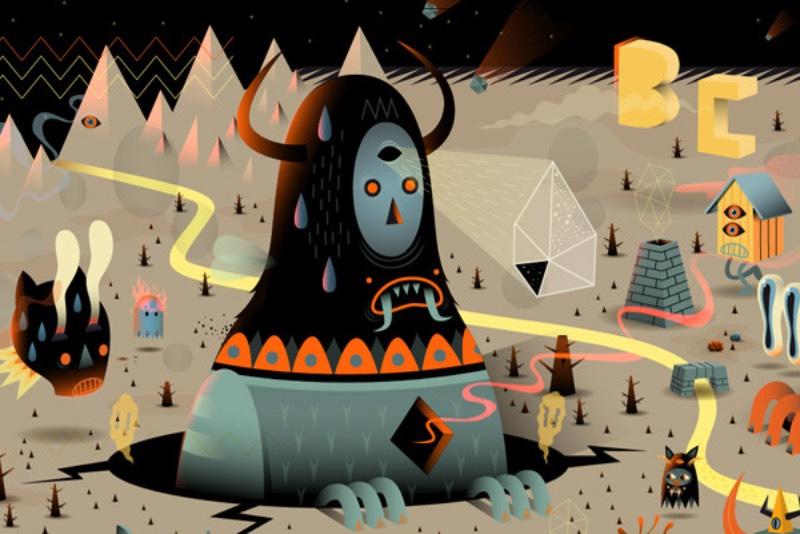As imagens que Niark1 cria evocam híbridos de lobos e insetos gigantes, sobrepostos em cenários saturados com muita cor. Esse é o universo surrealista do artista e lá vivem inúmeras criaturas estranhas, com um visual para lá de maluco.